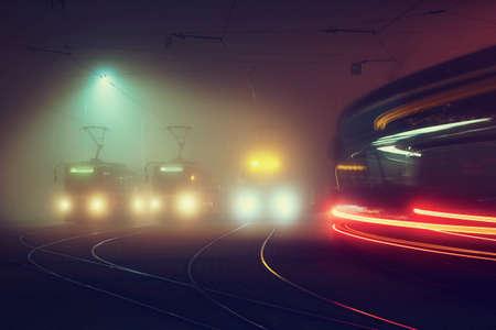 Tram station at the night, Prague, Czech Republic photo