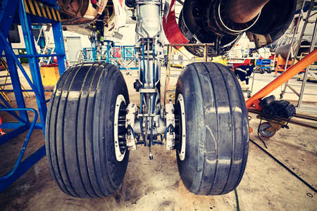 Chassis of the airplane under heavy maintenance Banco de Imagens