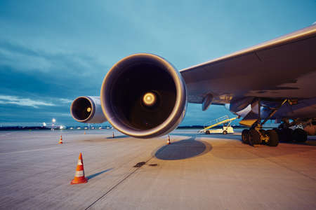 aircraft engine: Two engines of the large airplane at the airport. Stock Photo