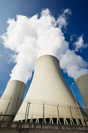 electric power: Cooling towers of the nuclear power plant