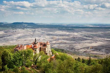 old mining building: Old castle near coal mine - Jezeri, Czech republic