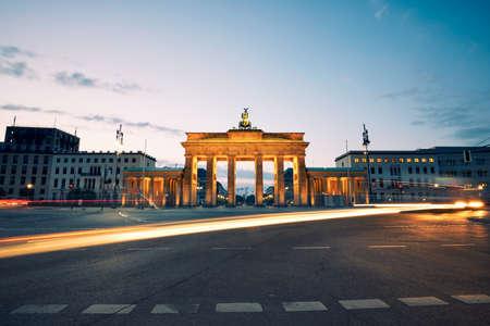 brandenburg gate: Brandenburg Gate - sunrise in Berlin, Germany