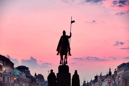 statue: Statue of Saint Wenceslas on Wenceslas Square in Prague, Czech Republic Stock Photo