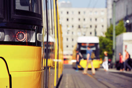 taillight: Tram in the station - Berlin, Germany Stock Photo