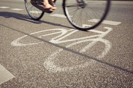 cycleway: Cyclist on the cycle lane - blurred motion