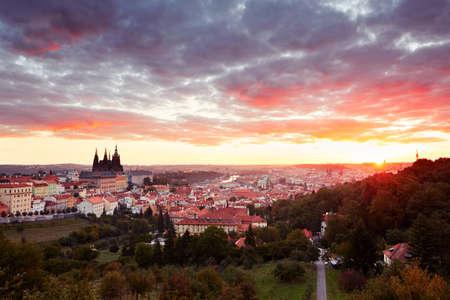 city of sunrise: Cityscape of Prague at the sunrise - Czech Republic