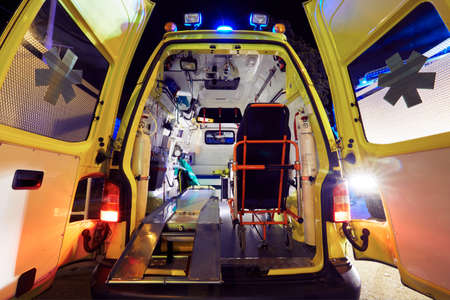 first help: Emergency service - open doors of the ambulance car