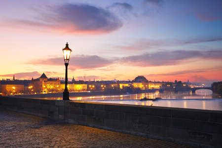 street lamps: View from Charles Bridge in Prague - selective focus