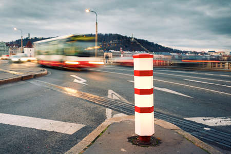 blurred motion: Evening traffic in the city, Prague - blurred motion Stock Photo