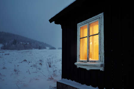 old buildings: Night in mountains - wooden house in winter landscape