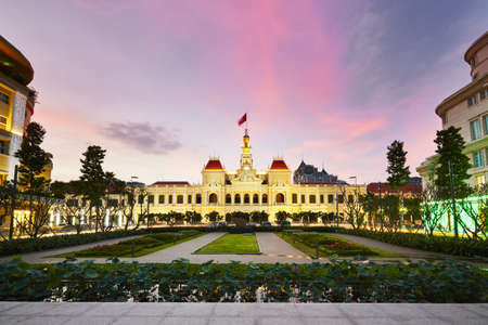 Ho Chi Minh City Hall is het bekend als Ho Chi Minh City People's Head Comité kantoor - Ho Chi Minh City, Vietnam Stockfoto