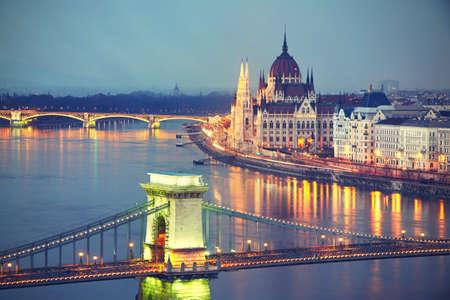 szechenyi: Amazing twilight with The Szechenyi Chain Bridge and Parliament in Budapest - vintage style