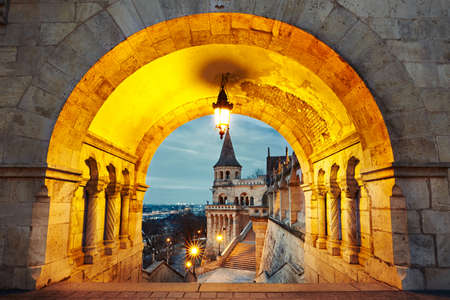 bastion: Fishermans Bastion - dawn in Budapest, Hungary