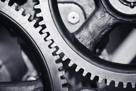 accuracy: Large cog wheels in the motor - selective focus Stock Photo