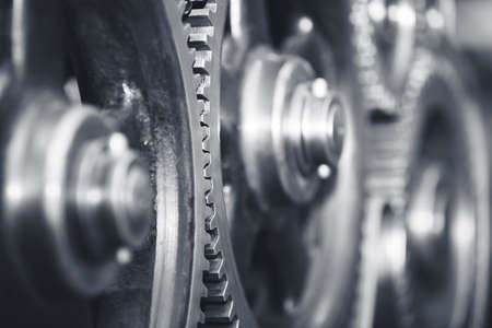 machine teeth: Large cog wheels in the motor - selective focus Stock Photo