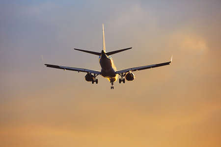 industry moody: Silhouette of the airplane during landing at the airport