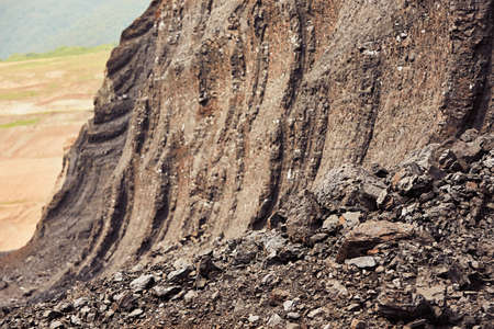 often: Coal mining in an open pit - lignite often referred to as brown coal - industrial landscape in Czech Republic