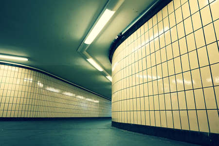 underground passage: Underground passage from subway. Narrow exit to the city. Stock Photo