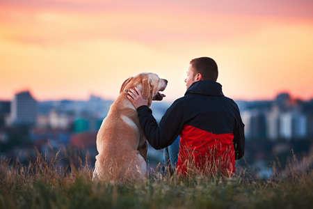 태양 즐기기. 남자는 노란 래브라도 리트리버 애 무입니다. 그의 강아지와 함께 언덕에 앉아 젊은 남자. 도시의 놀라운 일출. 체코 프라하. 스톡 콘텐츠