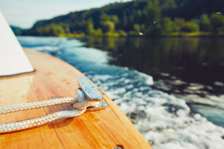prow: Prow of the floating boat. Close up view of the rope. Stock Photo