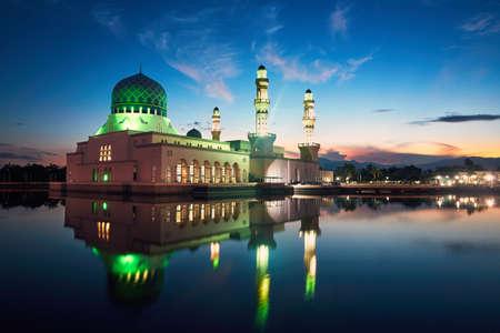 Reflection of Kota Kinabalu City Mosque, Island of Borneo, Malaysia