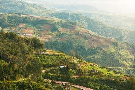 段々畑の田舎。マレーシアのボルネオ島の丘陵地の風景です。