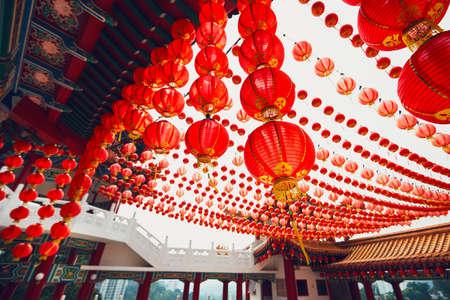 Traditional chinese Lantern and Thean Hou Temple in Kuala Lumpur, Kuala Lumpur Stock Photo