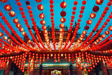 Traditionelle chinesische Laterne und Thean Hou Tempel in Kuala Lumpur, Kuala Lumpur Standard-Bild - 76457871