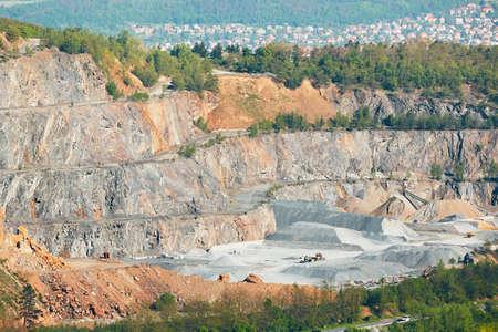 Surface mine in landscape. Stone mining in Czech Republic.