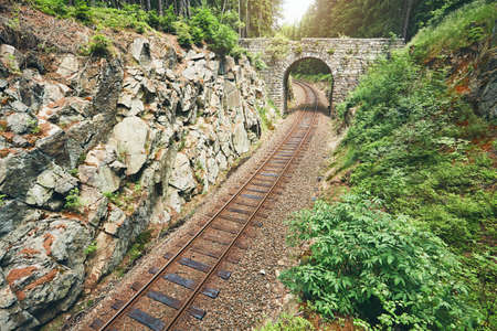 Forgotten bridge. Old stone bridge over the railroad track in the middle of the forest. Ore Mountains, Czech Republic Stock Photo
