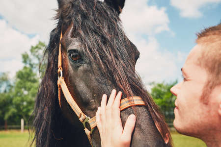 Summer day on the farm. Young man caress horse.
