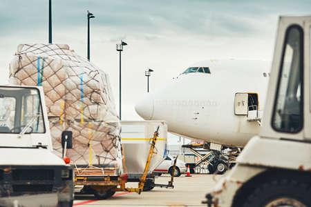 국제 공항에서의 일상 생활. 화물 비행기의 적재.