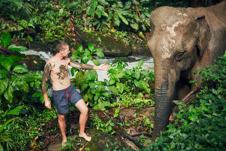 Young traveler with friendly elephant in tropical rainforest in Chiang Mai Province, Thailand. Stock Photo