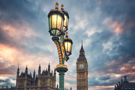 Big Ben and Houses of Parliament at dusk, London, United Kingdom - selective focus