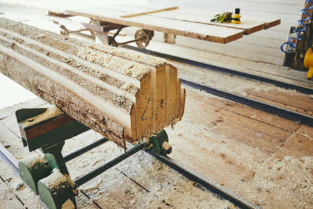 Lumber industry. Planks after cutting at the sawmill. Stock Photo