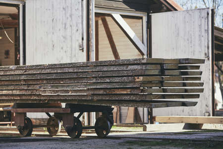 Lumber industry. Stack of the planks at the sawmill.