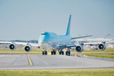Prague, Czech Republic - June 16, 2018: Boeing 747-8i of Korean Air is taxiing to runway at Vaclav Havel Prague Airport on June 16, 2018.