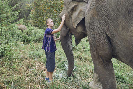 Face to face. Young traveler with friendly elephant in tropical rainforest in Chiang Mai Province, Thailand.