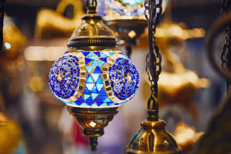 Close-up view traditional lamps for sale at souq in Muscat, Sultanate of Oman.