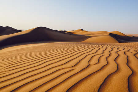 Sand dunes in desert landscape. Wahiba Sands, Sultanate of Oman. 스톡 콘텐츠