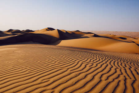 Sand dunes in desert landscape. Wahiba Sands, Sultanate of Oman. Stock Photo
