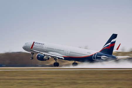 Prague, Czech Republic - December 11, 2018: Aeroflot Airbus A321 during take off in rain at Prague Airport on December 11, 2018. 報道画像