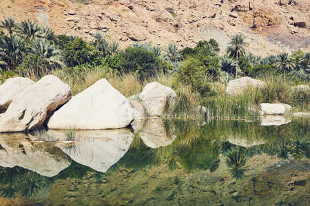 Landscape of Oman. Lagoon in the middle of Wadi Tiwi in idyllic day.