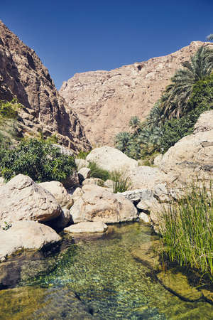 Landscape of Oman. Lagoon in the middle of Wadi Shab in idyllic day.