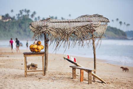 Stall with coconut against beach with surfers. Matara, Sri Lanka