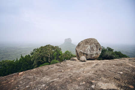 Sigiriya Rock  . View from Pidurangala Rock in Sri Lanka.