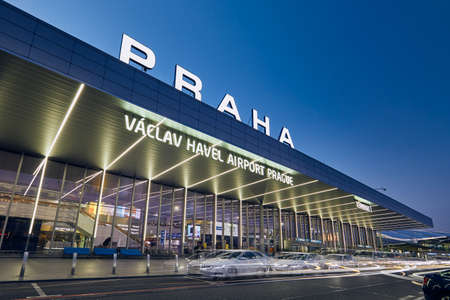 Prague, Czech Republic - March 22, 2019: Taxi cars in front of bulding Terminal 1 at Vaclav Havel Airport Prague on March 22, 2019.