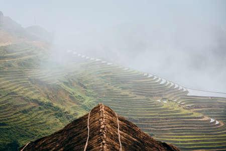Rice terraced field in clouds. Sapa in Lao Cai province, Vietnam.
