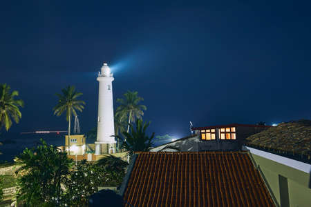 Lighthouse in fort in Galle. Old town in Sri Lanka at night.