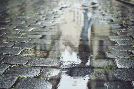 Reflection in puddle. Man with umbrella walking on cobblestone street in rain. Prague, Czech Republic.